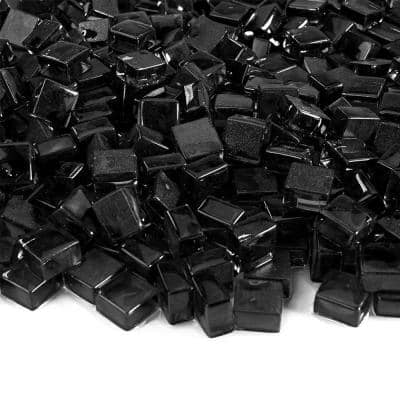 1/2 in. 10 lbs. Midnight Black Cube Fire Glass for Indoor and Outdoor Fire Pits or Fireplaces