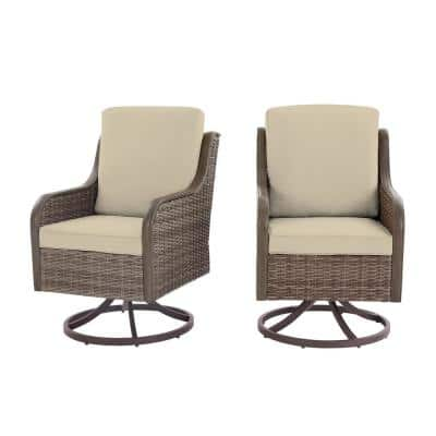 Windsor Brown Wicker Outdoor Patio Swivel Dining Chair with CushionGuard Biscuit Tan Cushions (2-Pack)