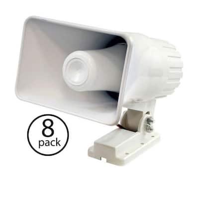 6 in. 50-Watt Indoor/Outdoor Waterproof Home PA Horn Speaker (8-Pack)
