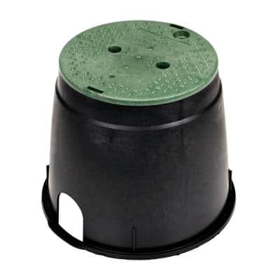 10 in. Round Valve Box and Cover, Black Box, Green ICV Cover