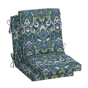 18 in. x 16.5 in. Mid Back Outdoor Dining Chair Cushion in Sapphire Aurora Damask (2-Pack)