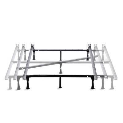 Adjustable Metal Bed Frame with Center Support  Glides