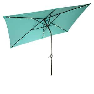10 ft. x 6.5 ft. Rectangular Market Solar Powered LED Lighted Patio Umbrella in Teal
