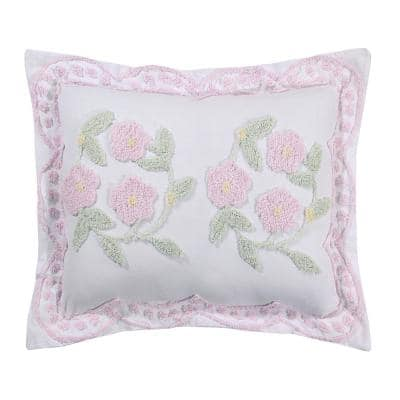 Bloomfield Collection in Floral Design Rose Standard 100% Cotton Tufted Chenille Sham