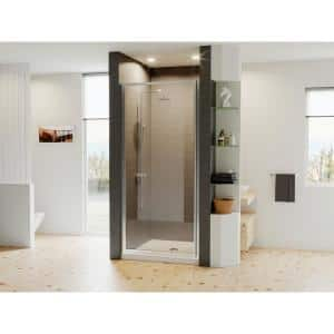 Legend 25.625 in. to 26.625 in. x 64 in. Framed Hinged Shower Door in Chrome with Clear Glass