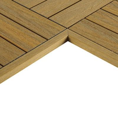 1/6 ft. x 1 ft. Quick Deck Composite Deck Tile Inside Corner Trim in English Oak (2-Pieces/Box)