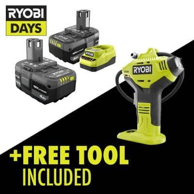 ONE+ 18V Lithium-Ion 4.0 Ah Compact Battery (2-Pack) and Charger Kit with Free Cordless High Pressure Inflator