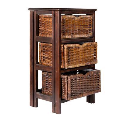 Rustic 16.75 in. Black/Dark Brown 3-Baskets Storage Chest