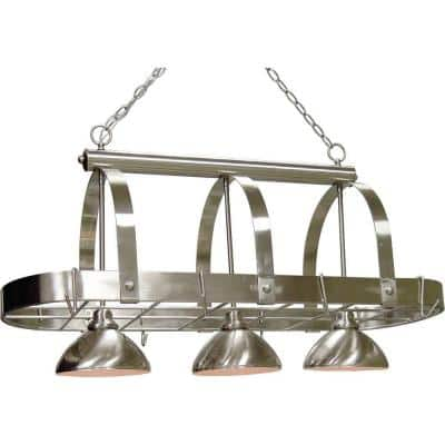 3-Light Brushed Nickel Pot Rack Pendant