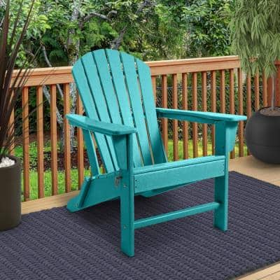 Blue Plastic Outdoor Patio Folding Adirondack Chair