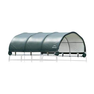 144 sq. ft. Corral Shelter w/ 1 - 5/8 in. Steel Frame, 9 oz. Green PE Cover, Patented Stabilizers, and Protective Boots