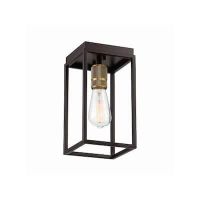 6 in. 1-Light Artisan Bronze Flush Mount Light