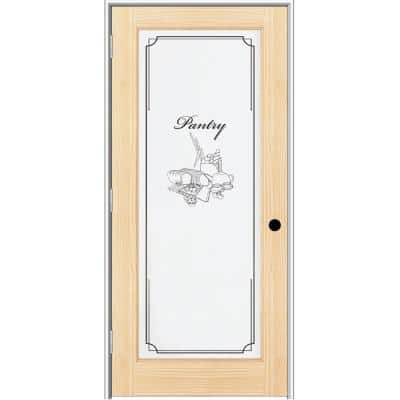 32 in. x 80 in. Right Hand Unfinished Pine Full-Lite Frost Pantry Design Single Prehung Interior Door