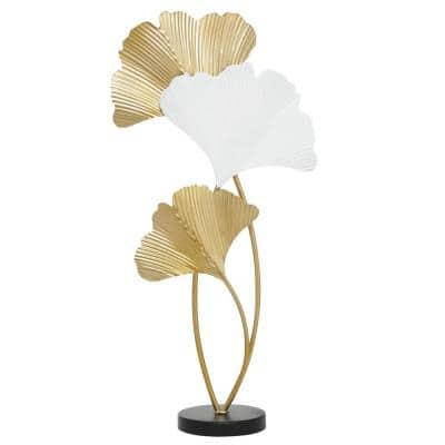 White and Gold Metal Leaf Fan Table Decor Sculpture, 14 in. x 24 in.