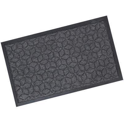18.25 x 30-Inch Rubber/Polypropylene Entrance Mat - Gray Geometric Cube