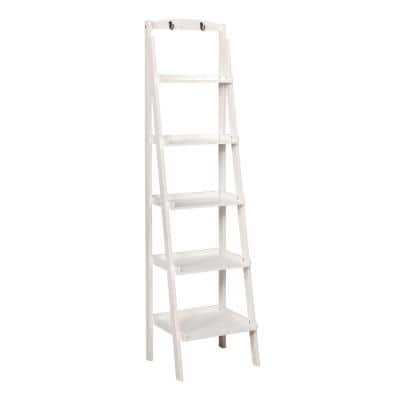 Contemporary 70.8 in. H White Wooden 5-Tier Ladder Shelf with Two Attached Hook on Top