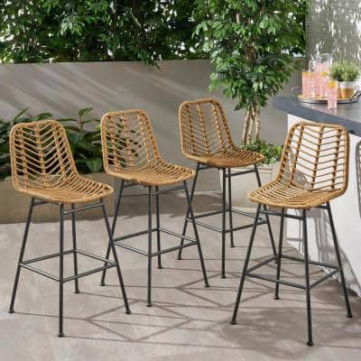 Sawtelle Stackable Wicker Outdoor Bar Stool (4-Pack)