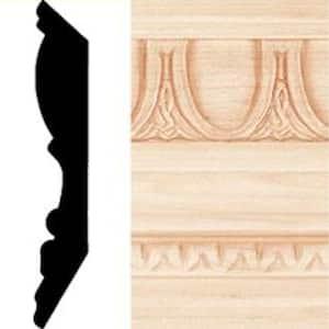 13/16 in. x 4-1/2 in. x 8 ft. Hardwood Emboss Crown Moulding