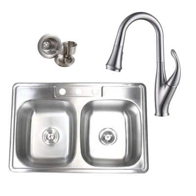 Topmount Drop-In Stainless Steel 33 in. x 22 in. x 9 in. 3 Faucet Hole 50/50 Double Bowl Kitchen Sink and Faucet Combo