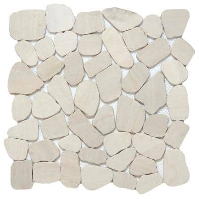 Cultura Ivory Honed and Tumbled 11.81 in. x 11.81 in. x 8 mm Pebbles Mesh-Mounted Mosaic Tile (1 sq. ft.)