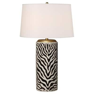 34 in. Black and White Zebra Ceramic Table Lamp