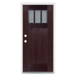 36 in. x 80 in. Dark Walnut Right-Hand Inswing 3 Lite Frosted Craftsman Stained Fiberglass Prehung Front Door