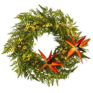 24 in. Mixed Fern, Forsythia and Bird of Paradise Artificial Wreath