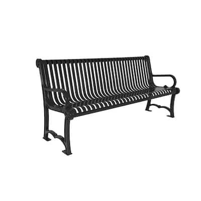 4 ft. Slat Black Charleston Bench with Back