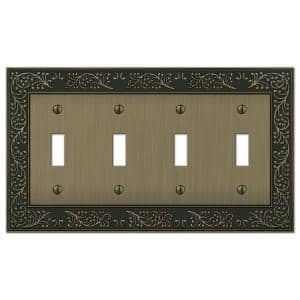 English Garden 4 Gang Toggle Metal Wall Plate - Brushed Brass