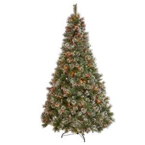 7 ft. Pre-Lit Mixed Spruce Hinged Artificial Christmas Tree with Multi-Colored Lights, Snow Branches and Pinecones