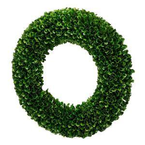 16 in. Faux Boxwood Round Wreath