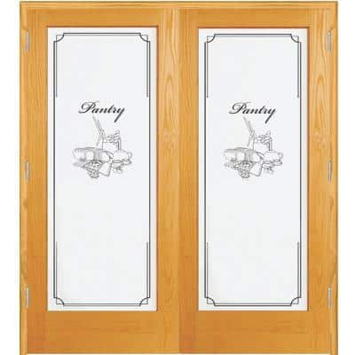 60 in. x 80 in. Both Active Unfinished Pine Pantry Design 1-Lite Frost Prehung Interior French Door