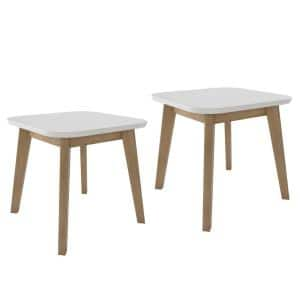 Scarlett in White and Natural Modern Wood End Tables (Set of 2)