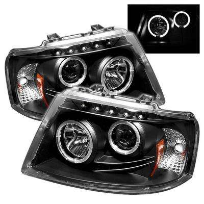 Ford Expedition 03-06 Projector Headlights - LED Halo - LED ( Replaceable LEDs ) - Black