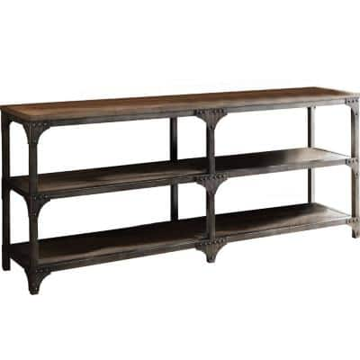 Amelia 72 in. Weathered Oak/Antique S Standard Rectangle Wood Console Table