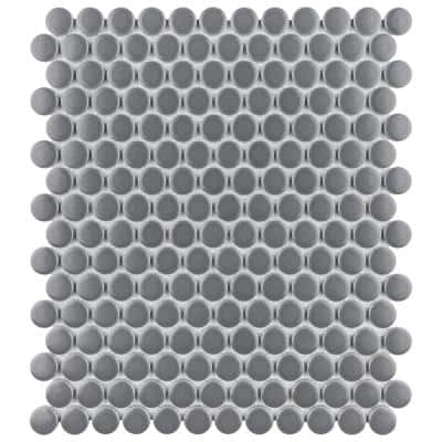 Metro Penny Matte Dark Grey 9-3/4 in. x 11-1/2 in. Porcelain Mosaic Tile (15.94 sq. ft./Case)