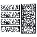 Decorative Scrollwork Indoor/Outdoor Entryway Rubber Door Mat Set with Stair Tread Cover (5-Piece Set)