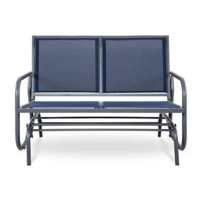 2 Seat Steel Padded Sling Outdoor Patio Glider in Navy