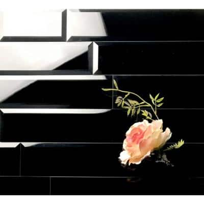 Reflections Beveled Black Diamond 3 in. x 12 in. Peel & Stick Glass Mirror Décor Subway Wall Tile (11 Sq.Ft/Case)