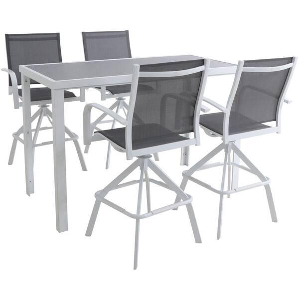 Hanover Naples 5 Piece Aluminum Outdoor, Outdoor Bar Height Glass Top Table