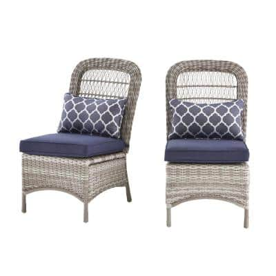 Beacon Park Gray Wicker Outdoor Patio Armless Dining Chair with CushionGuard Midnight Trellis Navy Blue Cushions(2-Pack)