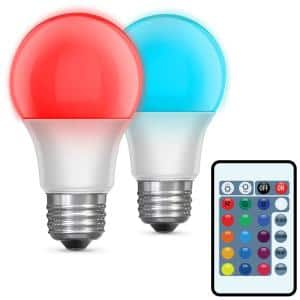 5-Watt Equivalent A19 Medium E26 Base Color Changing Party Bulb Party LED Light Bulb with Remote (2-Pack)