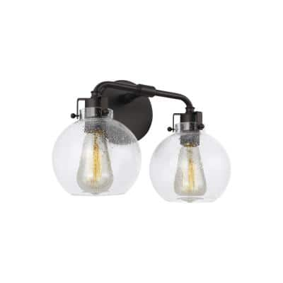 Clara 14 in. 2-Light Oil Rubbed Bronze Vanity Light Clear Seeded Glass Shades