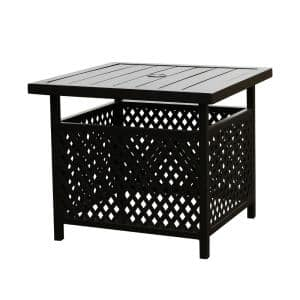 Black 22 in. Square Metal Outdoor Dining Bistro Coffee Table with Umbrella Hole