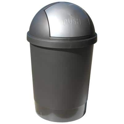 13.2 Gal. Gray Swivel Lid Gray Trash Can
