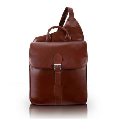 """SABOTINO, Oil Pull-Up Leather, 14"""" Leather Vertical Messenger Bag, Cognac (25414)"""