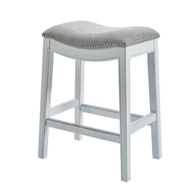 NewRidge White Wash Barstool with Saddle Seat