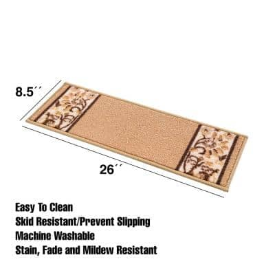 Bordered Mustard 8.5 in. x 26 in. Nylon Stair Tread Cover (Set of 13)