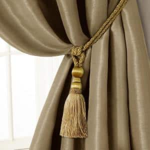 Elrene Charlotte 24 In Tassel Tieback Rope Cord Window Curtain Accessories In Gold 20065gld The Home Depot
