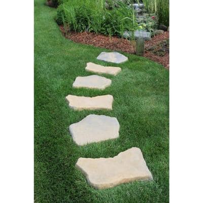 20 in. x 21 in. Irregular Concrete Tan Variegated Stepping Stones Kit (20-Piece)